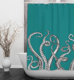 Teal Octopus Tentacle Shower Curtain