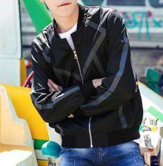 Fashion striped bomber jacket for men