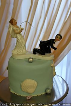 New cakes. Baby cake Yacht. Marine wedding cake. Photo