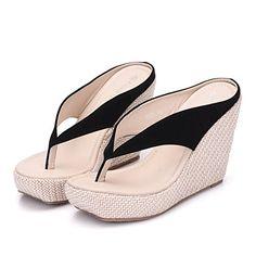 a232936a8b3978 Crystal Queen Women Beach Sandals Platform Wedges Sandals High Heels Wedges  Slippers Flip Flops White Flip Flops Plus Size (34 M EU   4 B(M) US