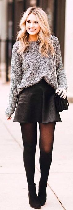 #winter #fashion /  Grey Knit / Black Leather Skirt / Black Tights / Black Booties