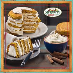Serve guests a slice of this moist pumpkin pancake cake layered with sweet cream cheese icing.
