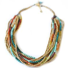 Multi-Strand Colorful Gemstone Necklace