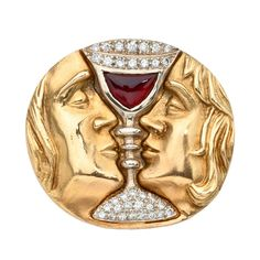 "Salvador Dali ""Tristan & Isolde"" Brooch 