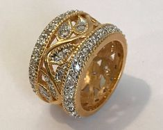 Vintage Pave Eternity 2 Tone Vine Estate Jewelry Ring Gold Eternity Band White Stone Eternity Two Tone Ring