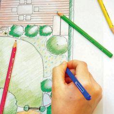 Gartenplan mit Buntstiften kolorieren