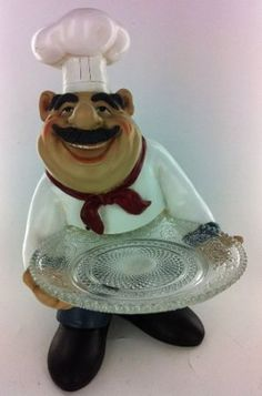 Fat Chef Kitchen Statue Plate Food Table Top Art Figurine 64226: Home & Kitchen