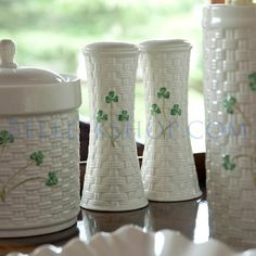 Don't forget the tall pair of Belleek Shamrock Salt & Pepper dispensers on St. Patrick's Day
