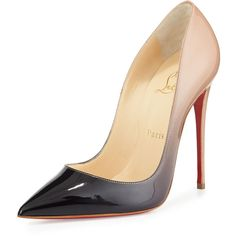 Christian Louboutin So Kate Degrade Red Sole Pump (13,055 MXN) ❤ liked on Polyvore featuring shoes, pumps, heels, christian louboutin, sapatos, pointed-toe pumps, low pumps, christian louboutin shoes, red pumps and red heel pumps