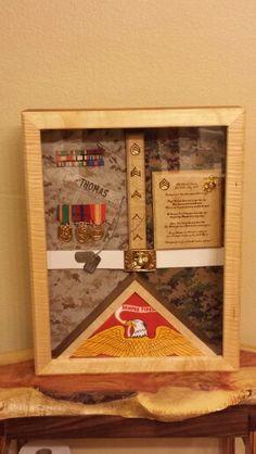 Www.buildburnsatisfy.com Military Shadow Box, Diy Shadow Box, Military Gifts, Diy Box, Marine Corps, Usmc, Retirement, Promotion, Awards