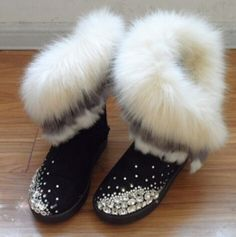 pas cher, Achetez directement de China Suppliers: Femmes botte de neige nouveau 2015 en cuir de mode chaussures femmes bottes renard décoration tête haute bottes d'hiver bottes fille chaussures en cotonUs$ 50.79/pi