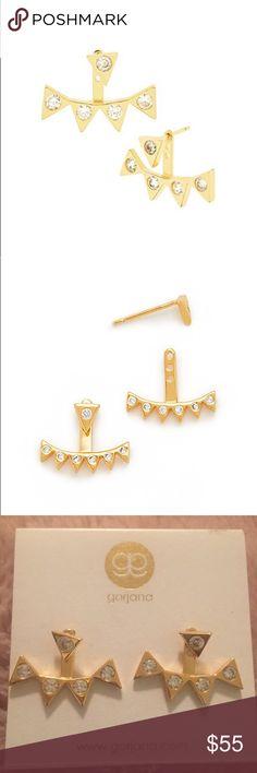 Gorjana Mika Shimmer Ear Jacket Cubic zirconias accent the optional, zigzag backing on polished Gorjana ear jackets. Post closure.  18k gold plate. Imported, China.  Measurements Length: 0.5in / 1cm Gorjana Jewelry Earrings