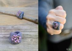 Fiber Art Jewelry, Textile Jewelry, Fabric Jewelry, Felted Wool Crafts, Felt Crafts, Crafts To Make, Handmade Felt, Handmade Jewelry, Felt Bracelet