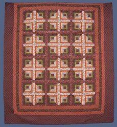 Custom Amish Quilts - Earth Log Cabin Patchwork Brown Tan; Amish Quilter
