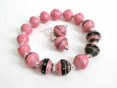 Bubblegum Pink and Black PAPER BEAD Bracelet and ♥ by itsmolly