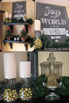 Christmas decorations. and i love these layered shelves! could decorate for any…