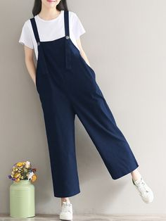 a34d3f187996 Gracila Loose Casual Strap Romper Trousers Overalls For Women