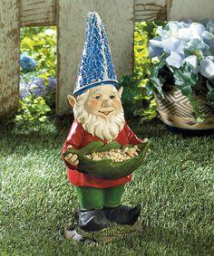 Love this Bird Feeder Gnome Solar Statue by Zingz & Thingz on #zulily! #zulilyfinds