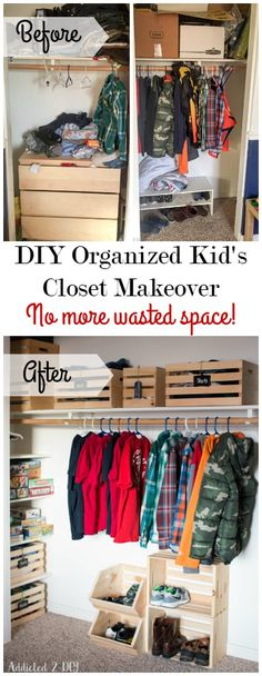This closet makeover is so amazing! There was so much wasted space and with some simple DIY touches and some crates, it's perfectly organized. organisieren kisten DIY Organized Kid's Closet Makeover - No More Wasted Space! Diy Organizer, Diy Storage, Closet Organization, Organization Ideas, Basement Storage, Closet Storage, Kid Closet, Closet Space, Cheap Closet