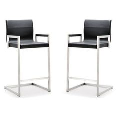 TOV Furniture Milano Stainless Steel Counter Stool - Set of 2 - TOV-K3610