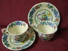 Masons China Dinnerware Strathmore Blue-Multicolor Pattern #C4792- 2 Demitasse
