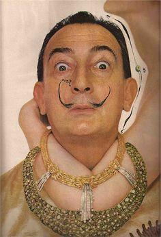 "Salvador Dali and his ""Fountain of Heraclitus"" necklace - Richard Avedon, Harper's Bazaar June 1963"