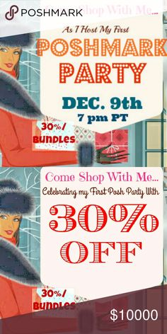 HOSTING A POSHMARK PARTY the Evening of 12/9 Come Holiday Shop on Posh with Me from lovely closets!  Want a Host Pick?  1. Follow Me 2. Comment below and tag your PFF's 3. Tag me on your 1 favorite listing in your closet (If you have 0 or few HP's, please ADD this)  All Host Picks must come from posh compliant closets Coach Bags