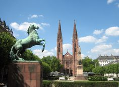 Wiesbaden - St Boniface our apartment is to the left of the horse statue