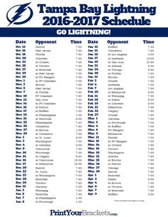 2017 Tampa Bay Lightning Schedule Team Wings Lighting