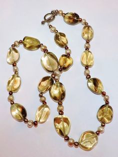 2302~Chunky Smokey Glass Nugget Freshwater Pearl Necklace** #StrandString