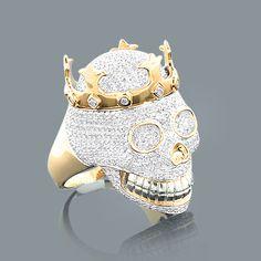 yellow gold diamond skull ring