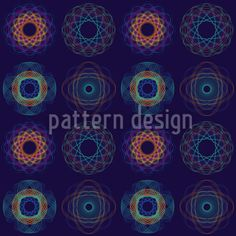 Spirograph Complex by Bard Sandemose available as a vector file on patterndesigns.com Vector Pattern, Pattern Design, Spirograph, Dark Blue Background, Vector File, Table Linens, Surface Design, Design Elements