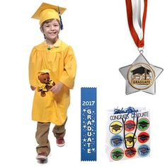 Make ordering easy with our Gift Pack Graduation Set.a graduation outfit ensemble and gift bag all in one convenient set! Kindergarten Graduation Gift, Kindergarten Gifts, Graduation Tassel, Pre K Graduation, Cap And Gown, Goodie Bags, Early Childhood, Packing, Kids