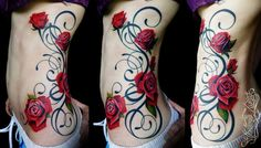 Rose sidepiece by artist,TATTOO SNIPER INK.