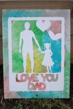 Father's Day Finger Painted Canvas made with the Silhouette | Fun gift idea kids can make!