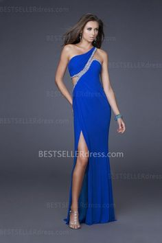 Electric Blue One Shoulder Homecoming Dresses Long Chiffon with Front Slit [Homecoming Dresses with Front Slit] - $166.00 : Hot Sale | Homecoming Dresses, Prom Dresses, Formal Necktie, Classic Shoes
