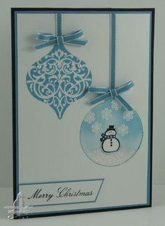 Cute snowman card. The snowman ornament is done using a masking method. Stampin' Up's Jolly Bingo Bits, Ornament Keepsakes, Come to Bethlehem, Framelits Holiday Ornaments were used in the creation of this card.