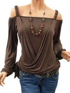Patty Women Stylish Off Shoulder Cross Tied Long Sleeve Top: Amazon.com: $37.98