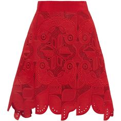 Antonio Berardi - Embroidered Cotton Skirt ($627) ❤ liked on Polyvore featuring skirts, red, cotton knee length skirt, cotton skirts, antonio berardi, cotton pencil skirts and red skirt