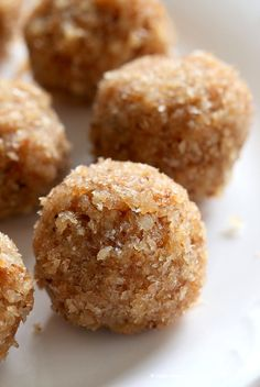 Toasted Coconut Balls - Toasted Coconut Cardamom Ladoo. Soft balls of coconut, coconut milk, cardamom and coconut sugar to celebrate Indian festivals. Use other flavors of choice.   VeganRicha.com