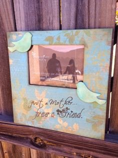 Mother's Day Quote Picture Frame, Vintage Leafy Design in Turquoise, Greens, Yellows and browns by ImpressionsByMisty, $35.00