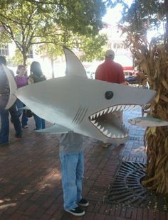shark costume | Cardboard Box Shark Costume by Kitchen Fun with My 3 Sons