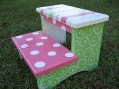 Kid's Hand Painted Step Stool
