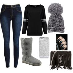 Untitled #1008 by emmahhayes on Polyvore featuring polyvore fashion style UGG Australia Yves Saint Laurent