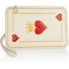 Charlotte Olympia Queen Of Hearts textured-leather clutch (€355) ❤ liked on Polyvore featuring bags, handbags, clutches, purses, accessories, red, white, charlotte olympia clutches, red handbags and handbags & purses