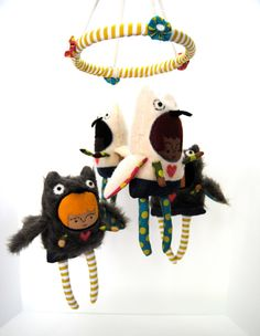 Baby Mobile  Owl Girls by PinkCheeksStudios on Etsy, $140.00