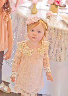 Bridget's Pink and Gold 2nd Birthday | CatchMyParty.com.   love her outfit..its adorable!!!