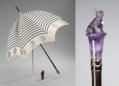 Parasol with amethyst pug knob, via Met Museum Fancy Umbrella, Vintage Umbrella, Photo Vintage, Vintage Fans, Walking Sticks And Canes, Walking Canes, Umbrellas Parasols, Historical Clothing, Historical Dress