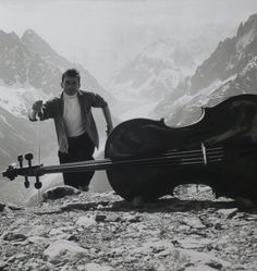 vintage everyday: 16 Stunning Portraits of French Cellist Maurice Baquet with His Cello in the Robert Doisneau, Man Ray, Maurice Baquet, Isabelle Hupper, André Kertesz, L Ascension, Nostalgic Pictures, Chamonix, Music Images