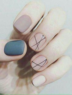 Matte nails, beige nails, teal blue matte nails, black delicate lines nail design #weddingnaildesigns